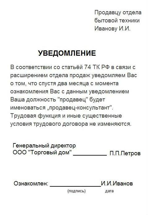 Изменение должности в штатном расписании, порядок действий